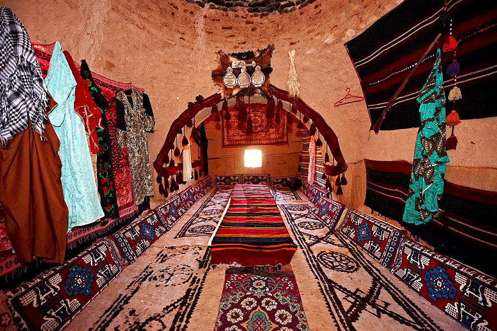 Interior of a beehive shaped adobe buildings of Harran, south west Anatolia, Turkey. Harran was a major ancient city in Upper Mesopotamia Turkey, 24 miles 44 kilometers southeast of Urfa.