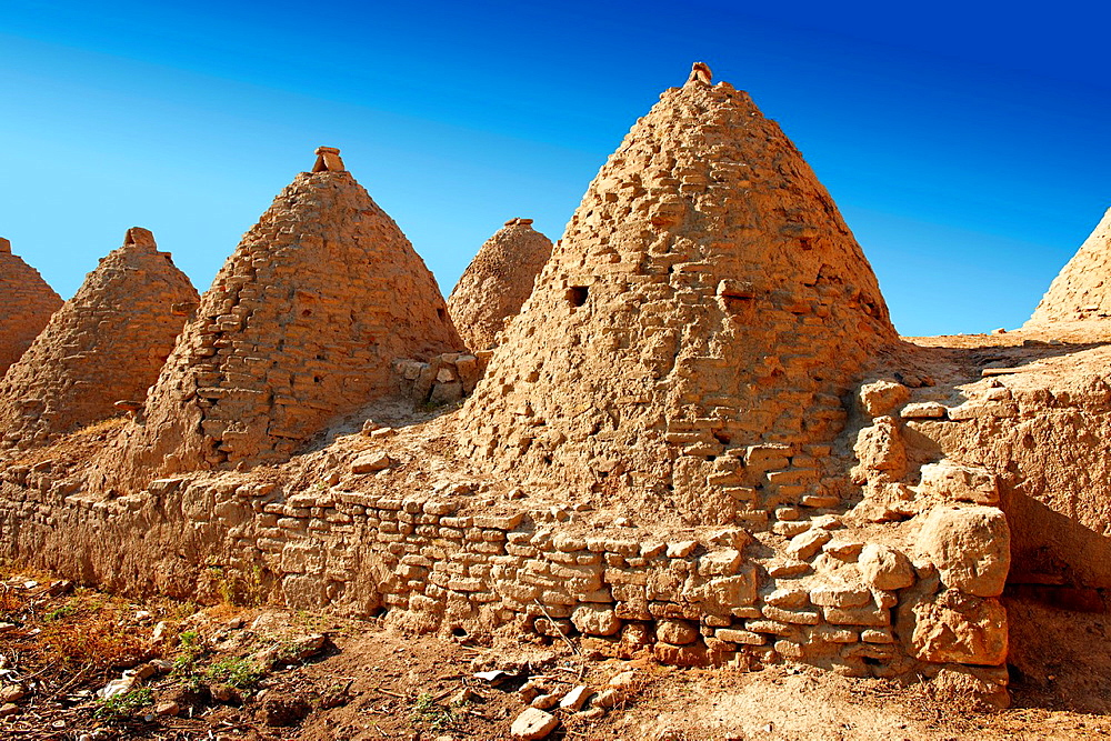 The beehive shaped adobe buildings of Harran, south west Anatolia, Turkey. Harran was a major ancient city in Upper Mesopotamia Turkey, 24 miles 44 kilometers southeast of Urfa.