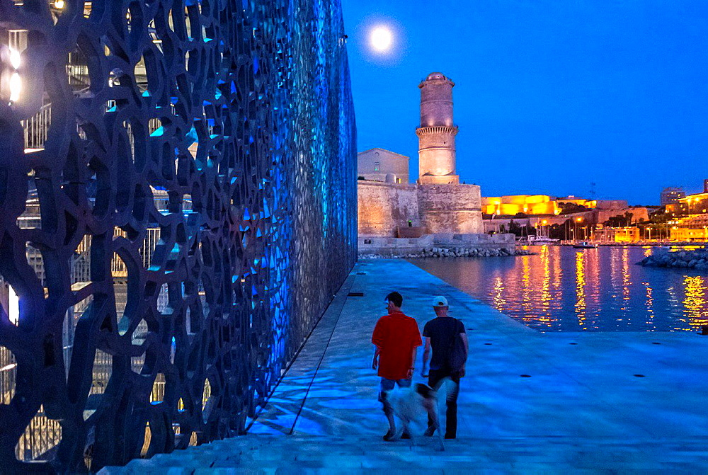 Marseille, France, Modern Architecture, MUCEM Building, 'Musa©e des Civilisations de l'Europe et de la Ma©diterrana©e', South of France ,(Credit Architect: 'Rudy Riciotti') Fort Saint Jean, Night.