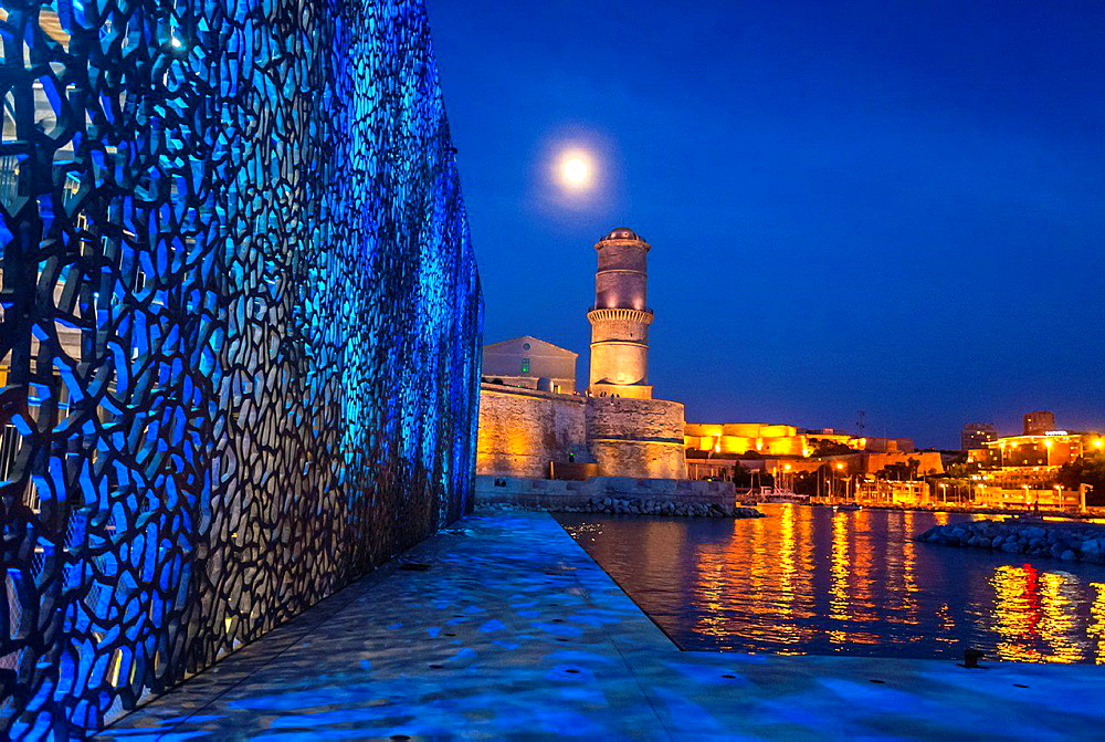 Marseille, France, Modern Architecture, MUCEM Building, 'Musee des Civilisations de l'Europe et de la Meditarranee', Museum,, South of France ,(Credit Architect: 'Rudy Riciotti') Fort Saint Jean, Night.