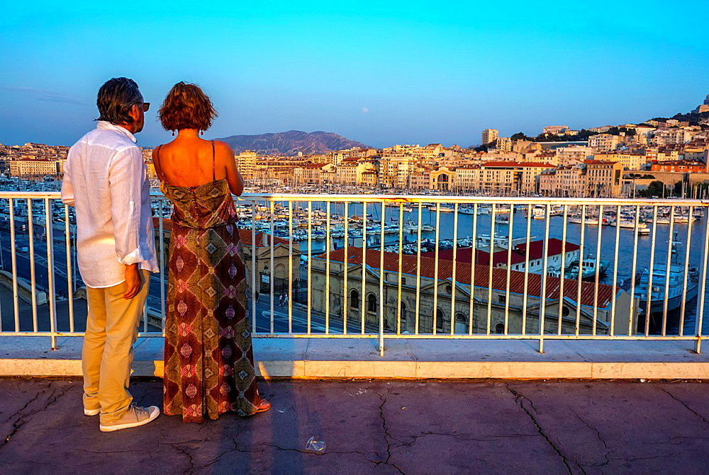 Marseille, France, Tourist Couple Visiting Overview of Vieux Port area, Cityscapes