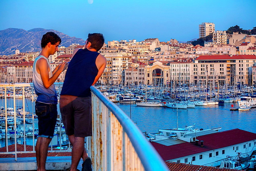Marseille, France, Tourists Visiting Vieux Port area, Street Scenes.
