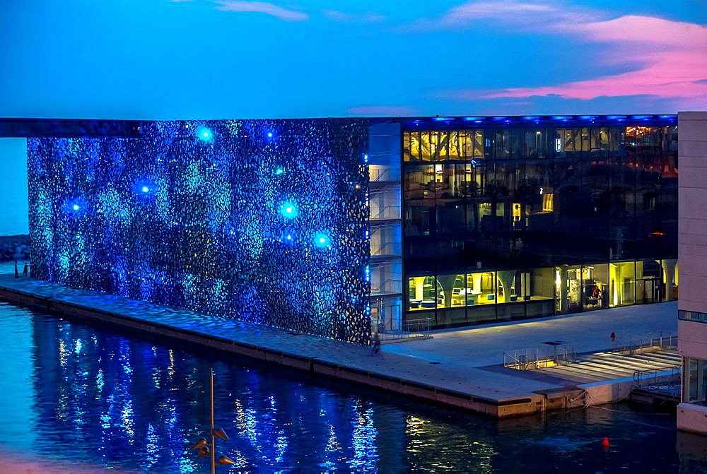 Marseille, France, Modern Architecture, MUCEM Building, 'Musee des Civilisations de l'Europe et de la Mediterranee', South of France, (Credit Architect: 'Rudy Riciotti'), Night View, Mediterranean Coast.