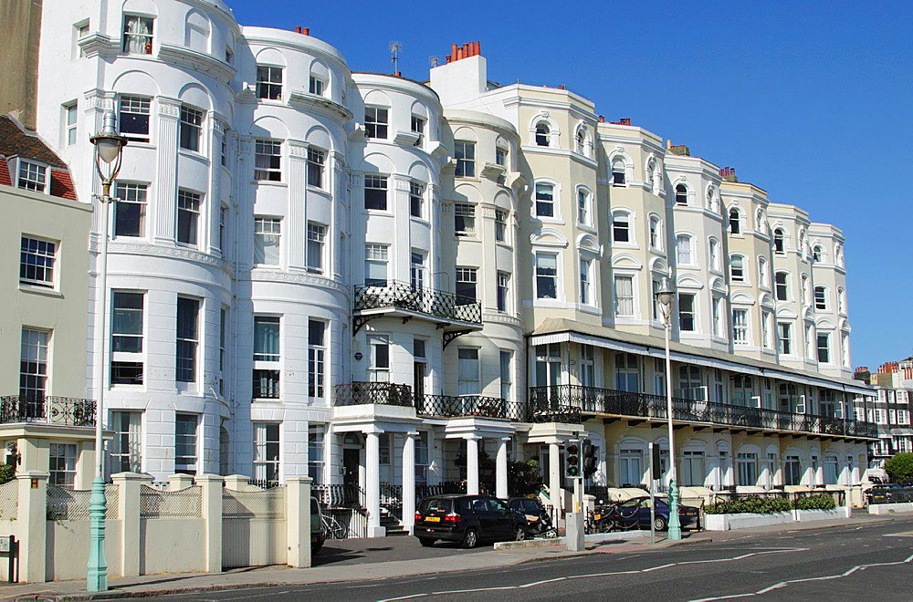 Townhouses on Marine Parade Brighton Sussex.