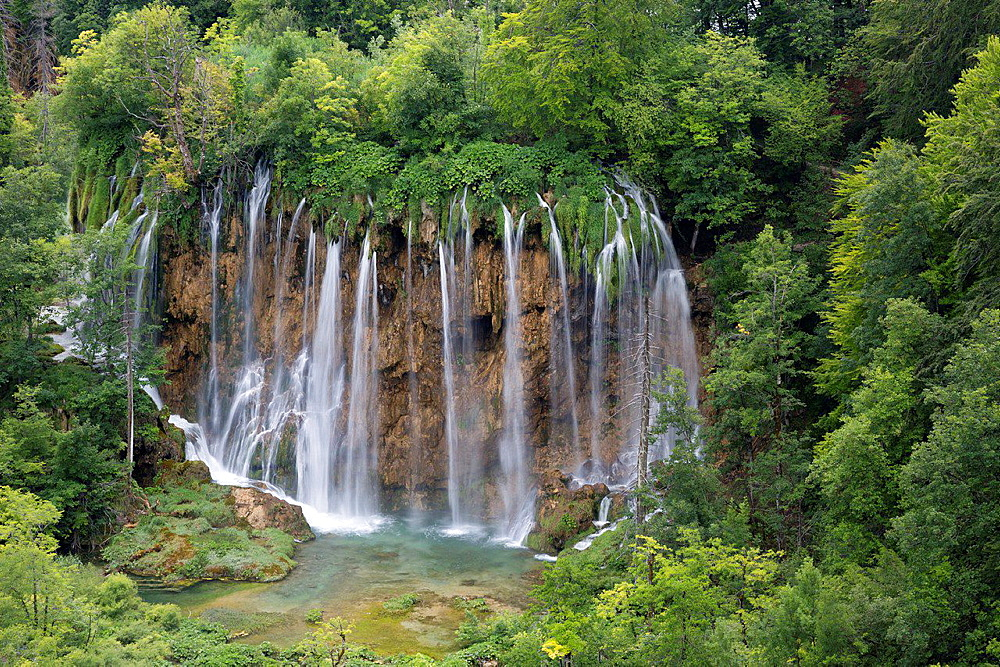 waterfall in Plitvice Lakes National Park, Croatia.