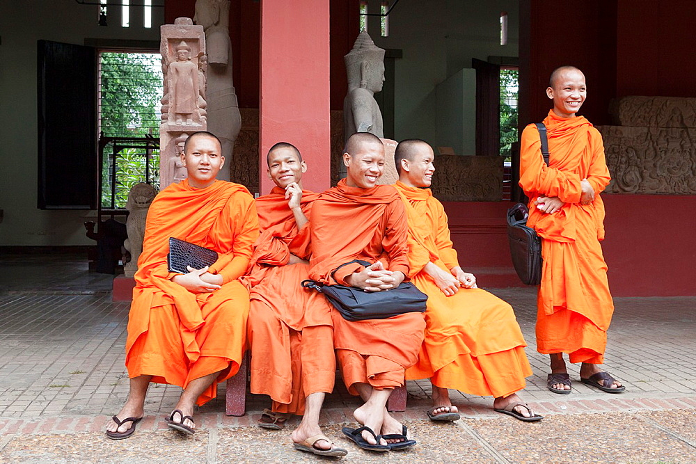 Buddhist monks at the national museum, Phnom Penh, Cambodia.