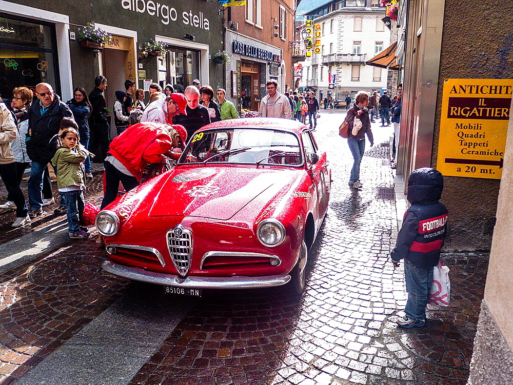 Race of vintage cars Cuervo y Sobrinos Cup through the center of Bormio, Lombardy, Italy