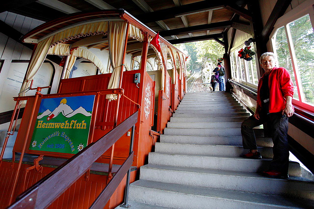 Historic funicular Heimwehfluh, built in 1904, with which we can ascend a hill with wonderful views of Interlaken, a restaurant and a space dedicated to leisure, highlighting the descent of the hill with an amazing rollercoaster. Interlaken, Canton of Bern, Switzerland, Europe.