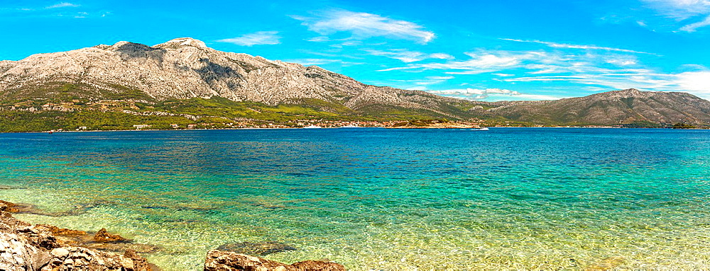 Orebic town, Peljeski Channel and Sveti Ilija mount on Peljesac peninsula, Croatia.