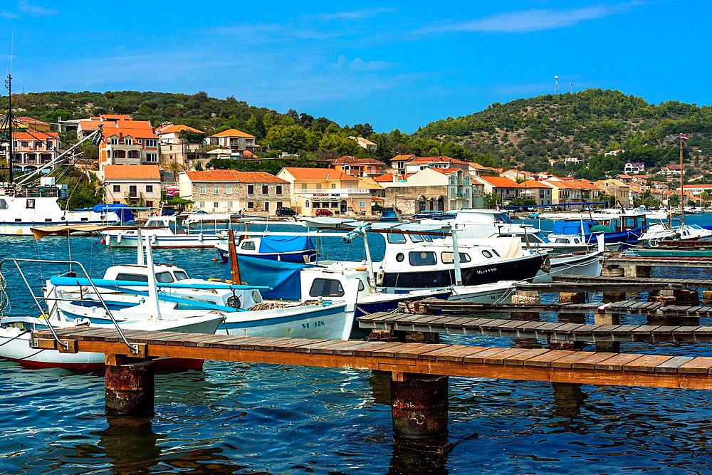 Port in Vela Luka town on Korcula island, Croatia.