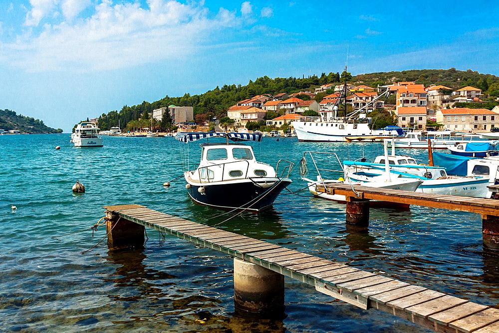 Port in Vela Luka town on Korcula island, Croatia.