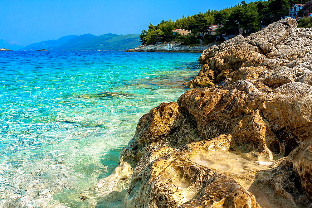 Adriatic sea coastline in Prigradica village, Korcula island, Croatia.