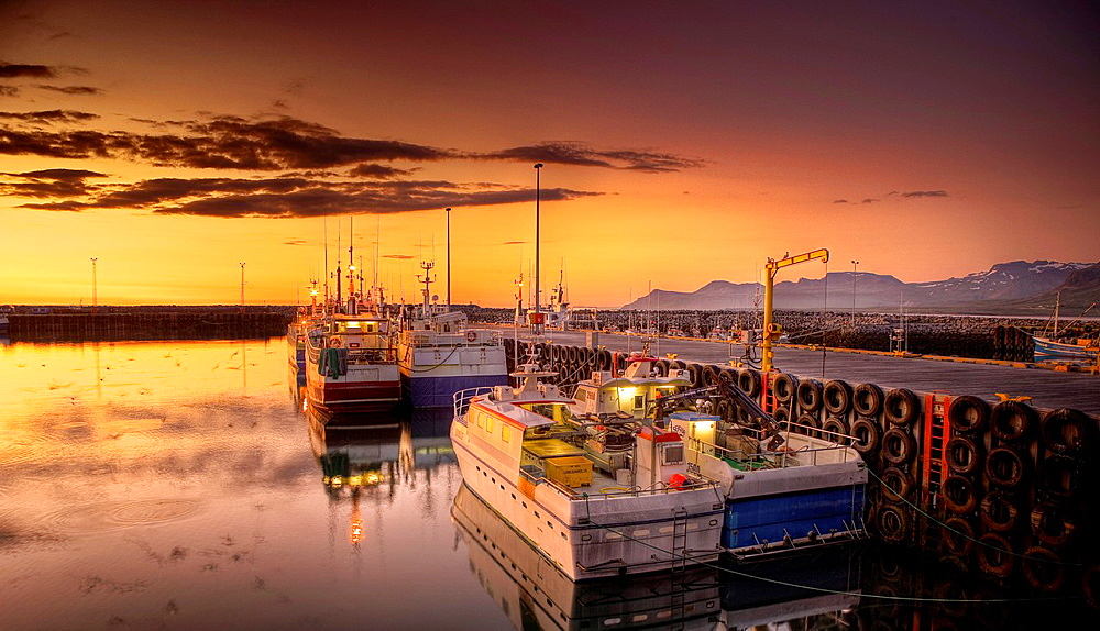 Boats in the harbor with the Midnight Sun, Olafsvik, Snaefellsnes Peninsula, Iceland. - 817-460797