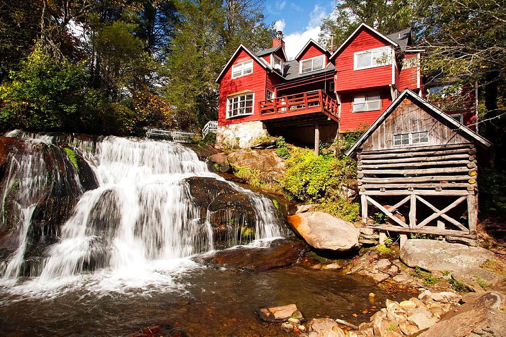 Mill Shoals Waterfall at Living Waters, Balsam Grove, North Carolina USA.