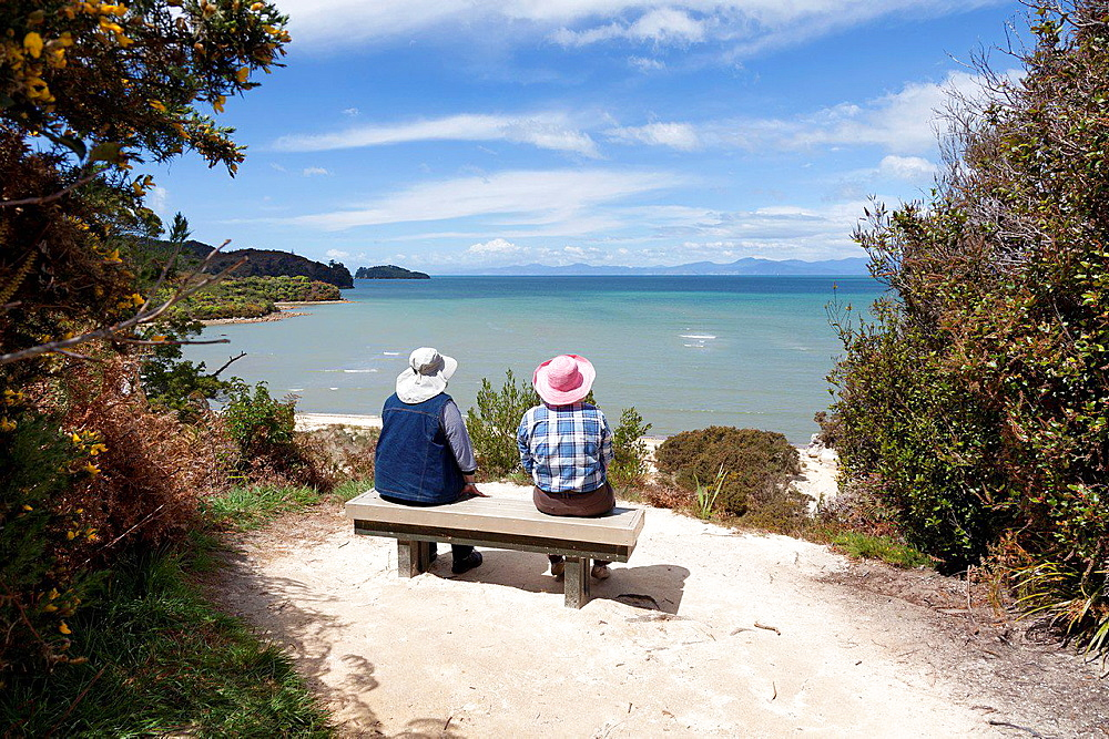 Looking out over the beach in Abel Tasman National Park, New Zealand.