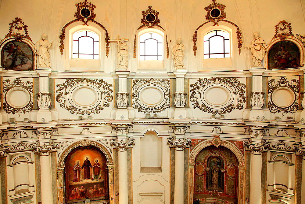 Italy, Sicily, Noto, Santa Chiara Church, interior.