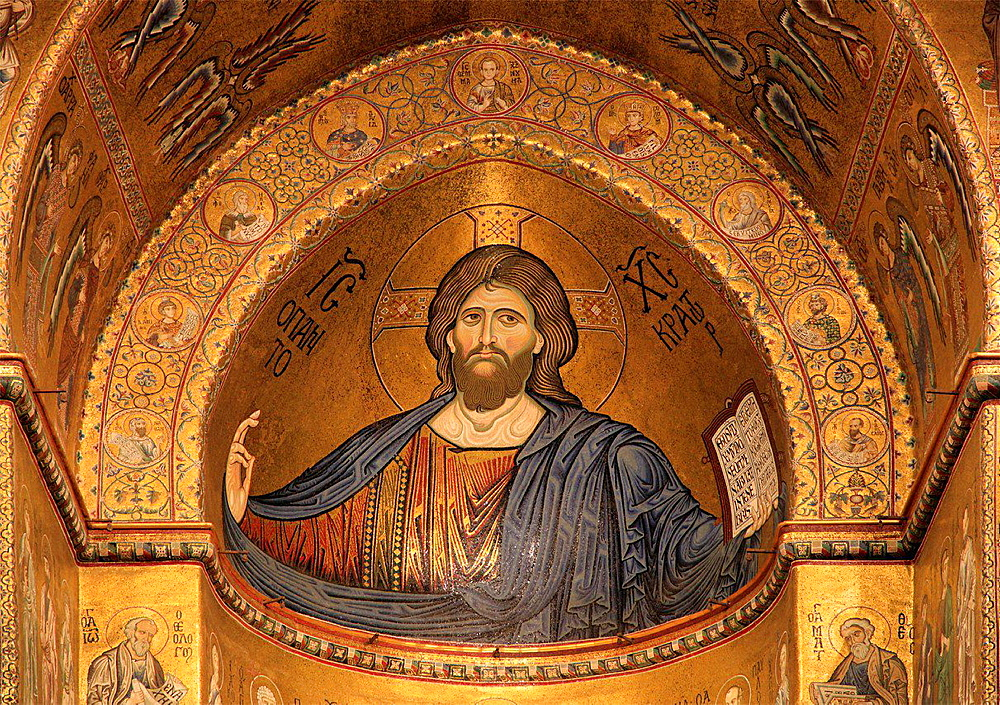 Italy, Sicily, Monreale, Duomo, Cathedral, interior, mosaics, Christ Pantocrator.