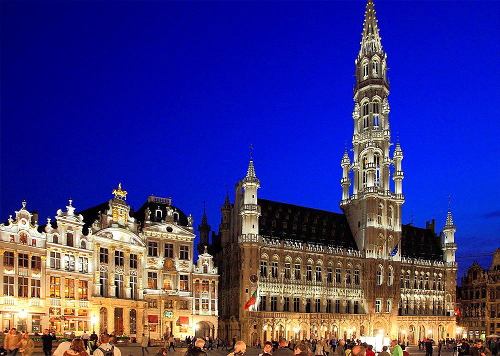 Belgium; Brussels; Grand Place, City Hall, Hotel de Ville.