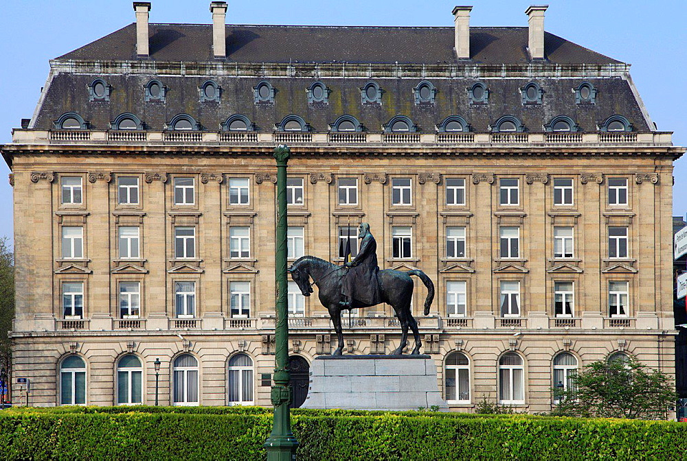 Belgium; Brussels; Place du Trone, Leopold II statue.