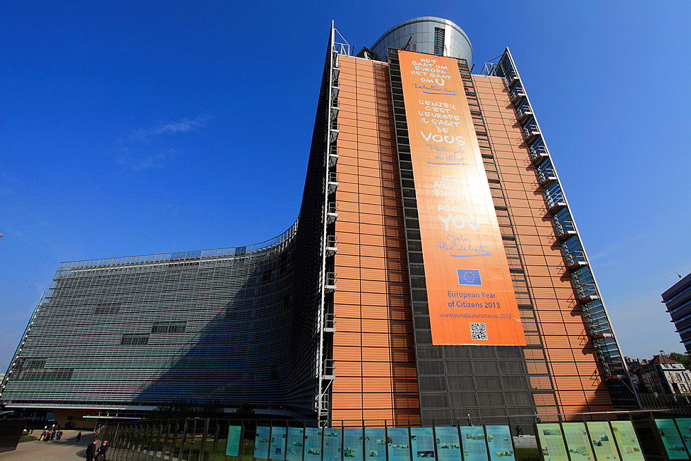 Belgium; Brussels; European Commission, Berlaymont Building.