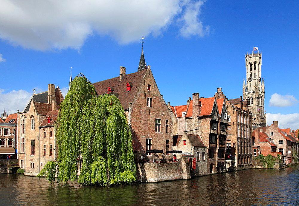 Belgium, Bruges, Belfry, canal scene.