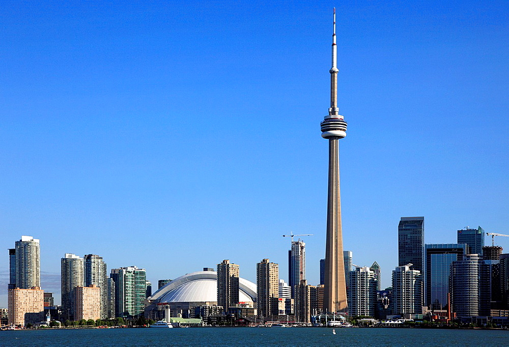 Canada, Ontario, Toronto, skyline, Rogers Centre, CN Tower,.