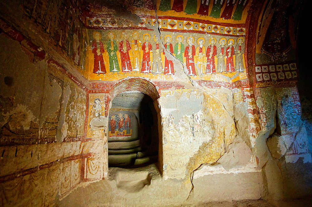 Frescoes in Yilanli Church, ninth century, Church of the Snake, Ihlara Valley, Cappadocia, Central Anatolia, Turkey.