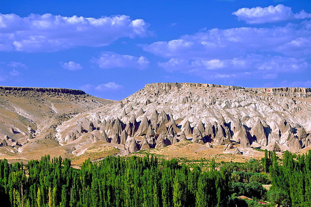 Cave Dwellings and Fairy Chimneys at Selime. Cappadocia, Central Anatolia, Turkey.