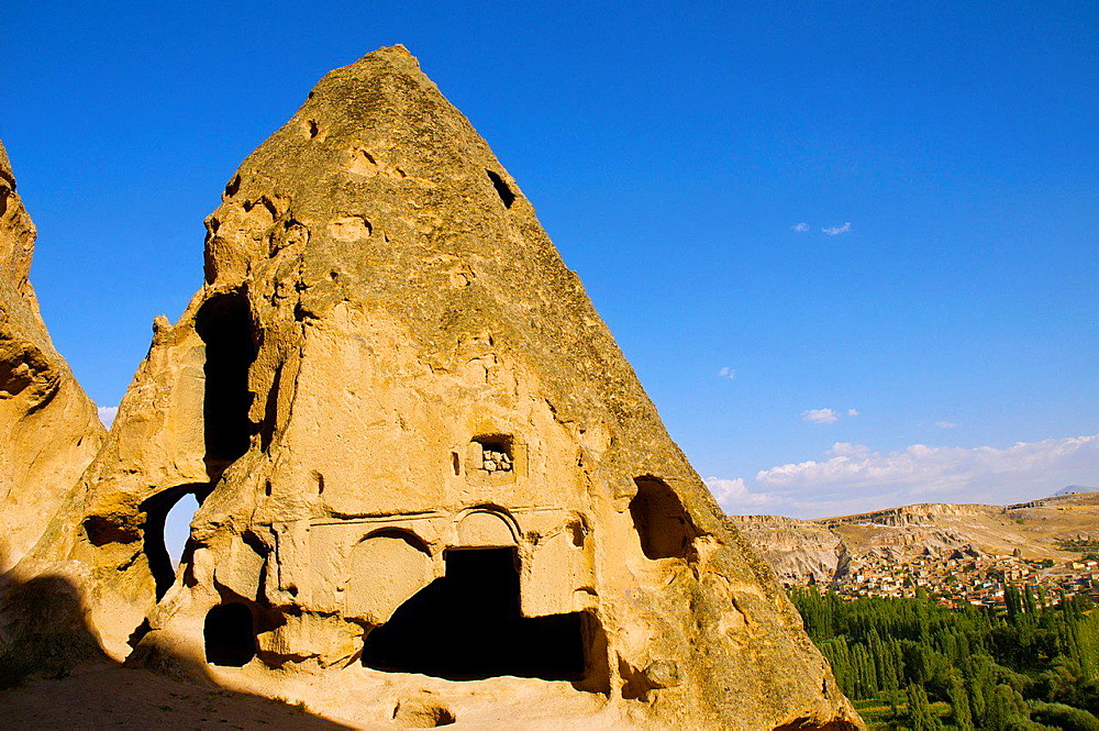 Cave Dwelling and Fairy Chimneys at Selime. Cappadocia, Central Anatolia, Turkey.