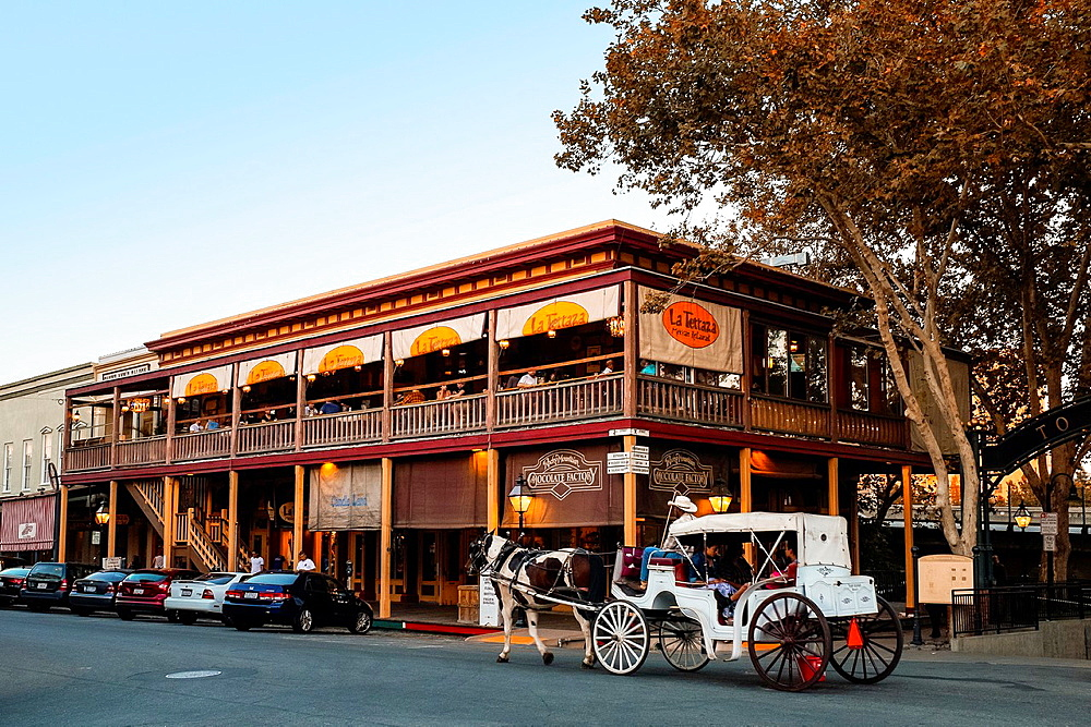 The La Terraza Mexican Restaurant and tourist stores in Old Sacramento State Historic Park, California.