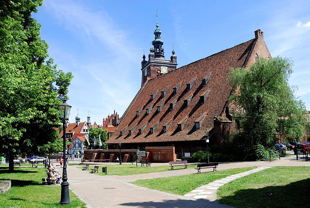 Great Mill with the tower of St. Catherine Church of Gdansk in the background, Wielk Mlyn