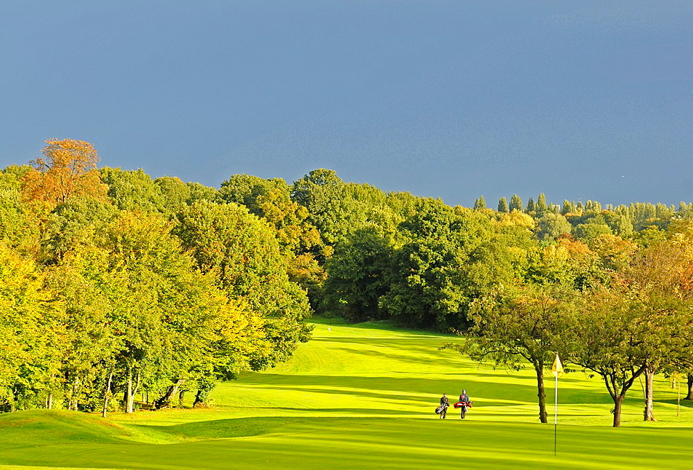 Sundridge Park Golf Club, dramatic view over the Course with stormy sky Bromley Kent England.