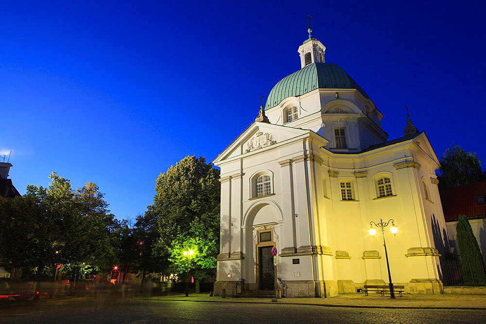 Church of the Nuns of the Holy Sacrament at dusk. Nowe Miasto. Warsaw. Poland.