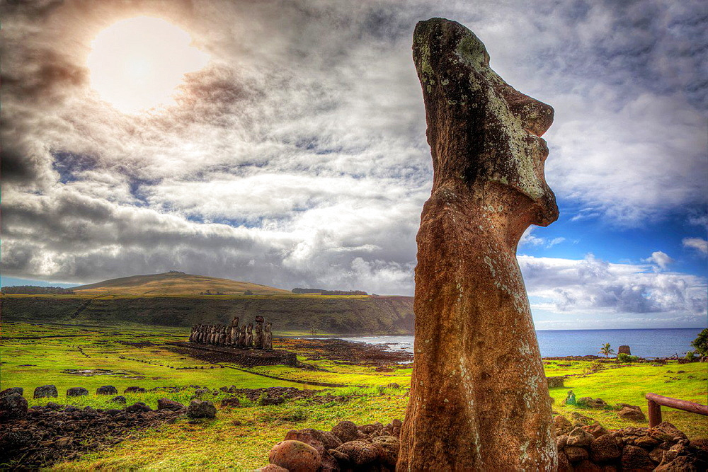 Ahu tongariki in easter island.