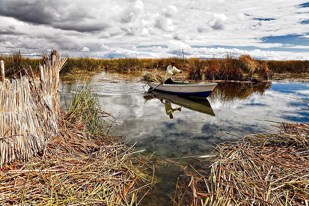 Uros island in titicaca lake.peru.