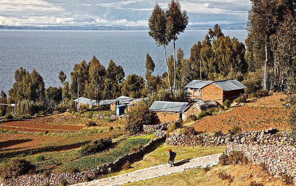 Amantani island in titicaca lake. peru.