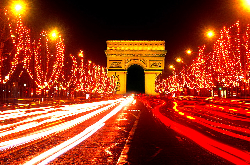 Famous Champs Elysees and Arc de Triomphe Paris France.