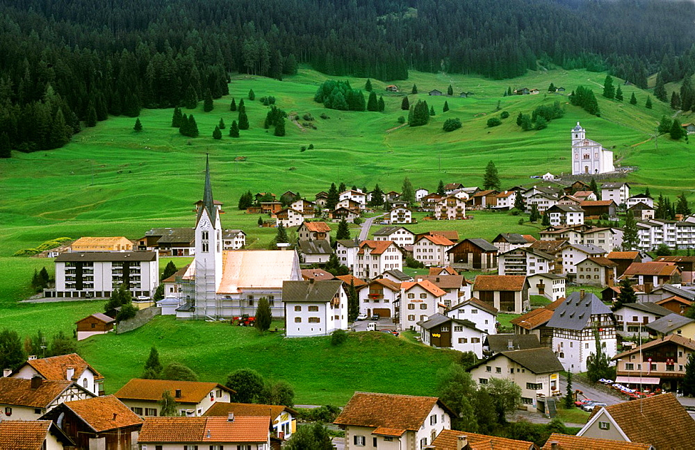 Village of Balzers in Liechtenstein in the mountains in the small country next to Switzerland.
