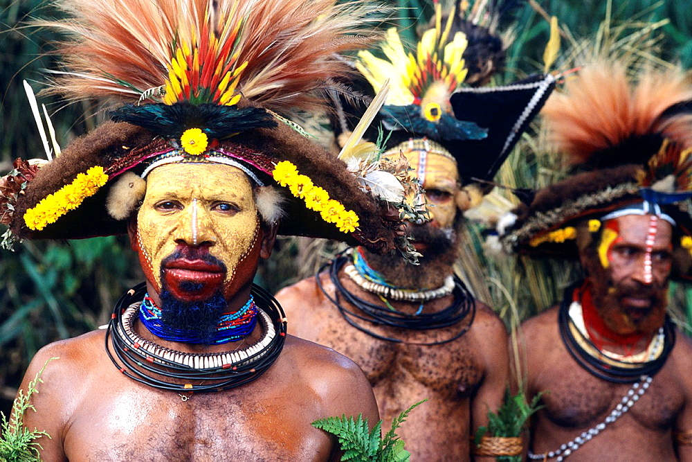 Colorful Huli Wigmen of Papua New Guinea.
