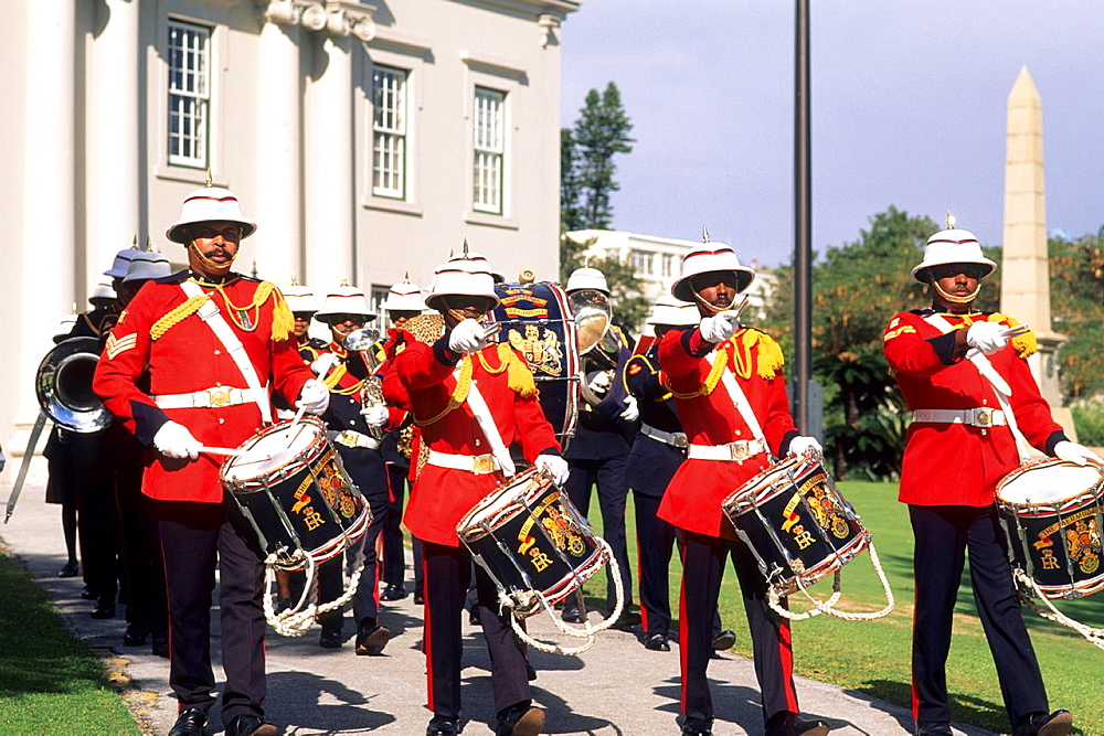 Colorful Regiment Band in Bermuda.