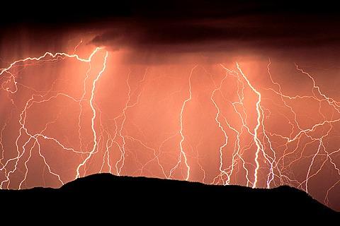 Lightning striking the Ajo Mountains, Organ Pipe Cactus National Monument, Arizona.