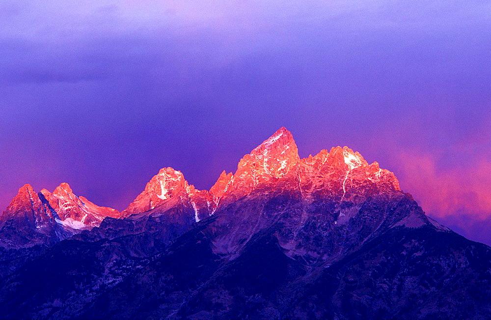 Pink light at dawn on the Grand Teton, Grand Teton National Park, Wyoming USA.