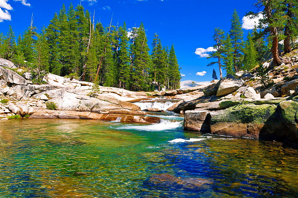 Cascade on the Tuolumne River, Tuolumne Meadows, Yosemite National Park, California USA.