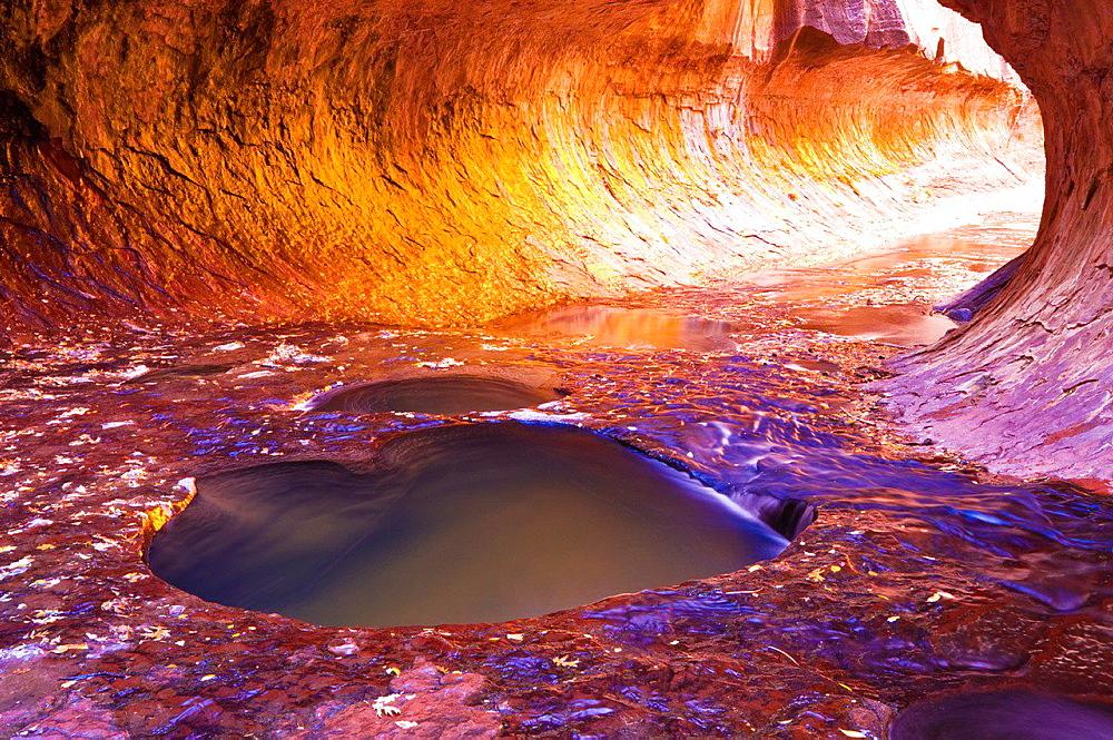 The Subway along North Creek, Zion National Park, Utah USA.