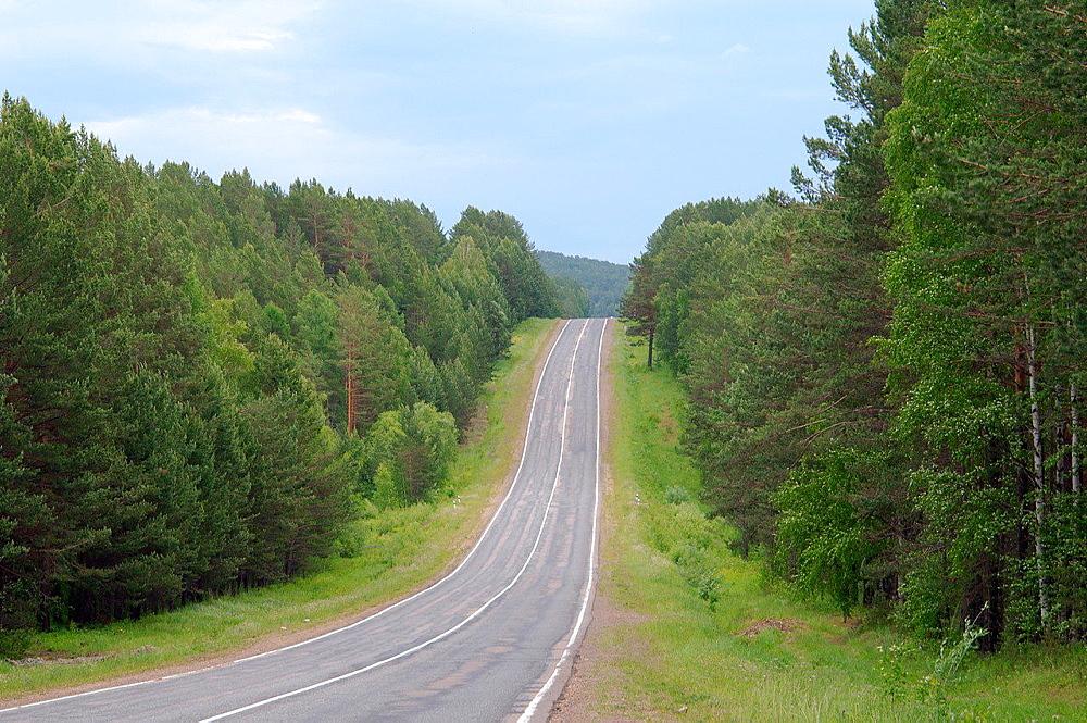 Road Irkutsk-Listvyanka, Irkutsk region, Siberia, Russian Federation.