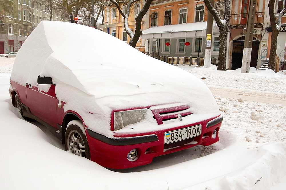 The car closed by snow, Odessa, Ukraine.