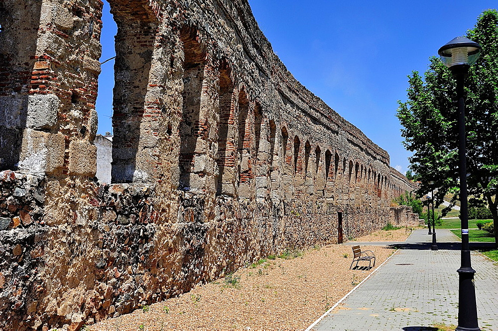 Renaissance aqueduct of San Lazaro, Merida, Badajoz province, Extremadura, Spain