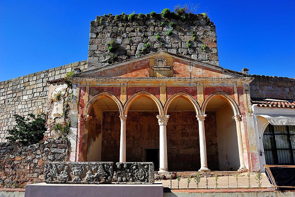 Neogothic portico in Arabic Alcazaba, Merida, Badajoz province, Spain