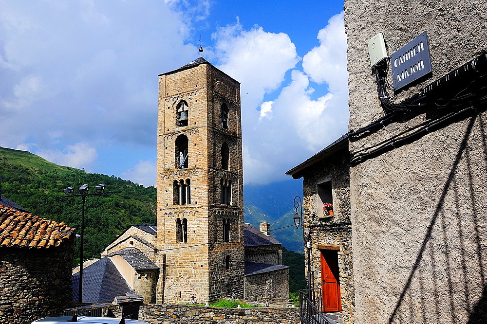Bell tower of the Romanesque church of the Nativity in Durro, Lleida province, Catalonia, Spain