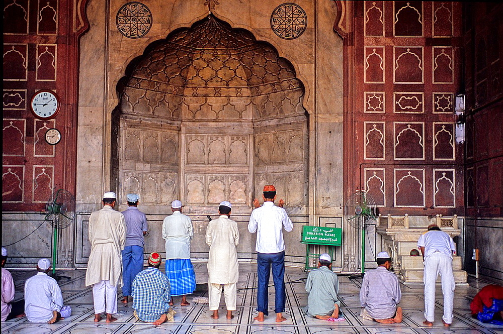Muslims praying at Jama Masjid or Friday Mosque, it is the main mosque in Delhi, India